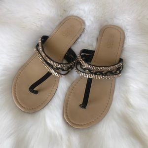 385 fifth bejeweled sandals